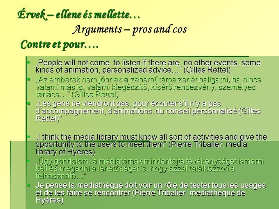 Érvek – ellene és mellette… Contre et pour….