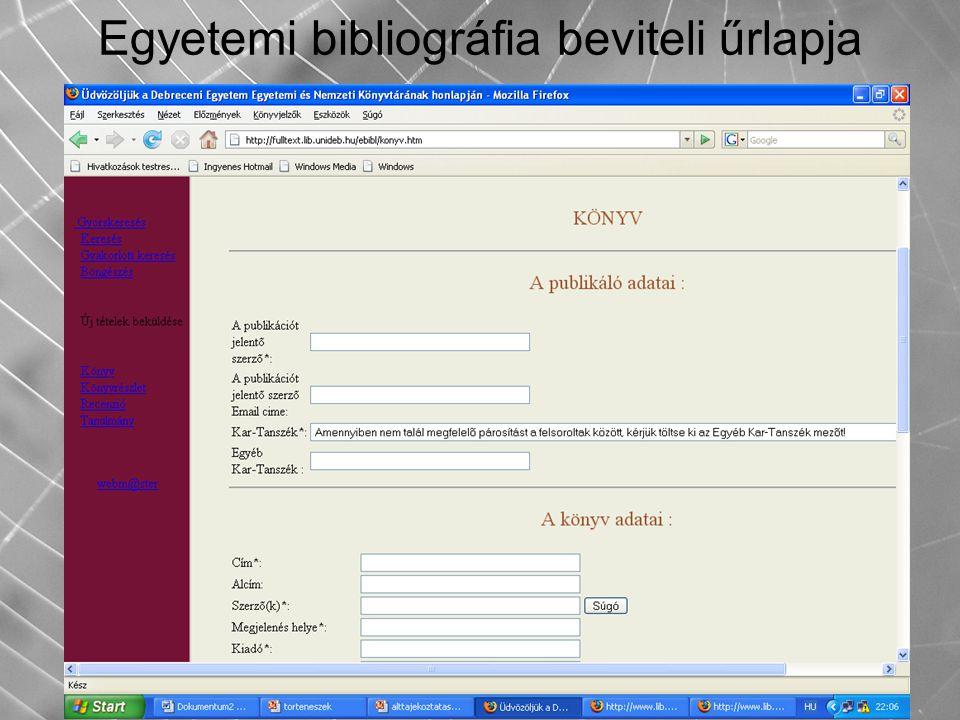 Egyetemi bibliográfia beviteli űrlapja
