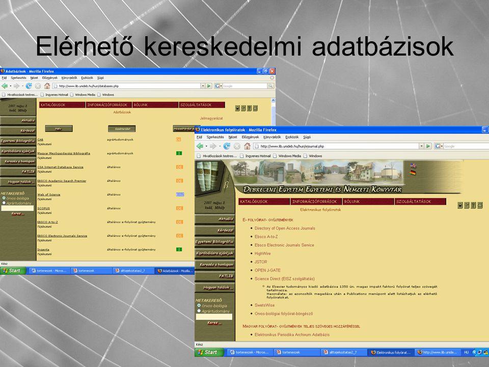 Elérhető kereskedelmi adatbázisok