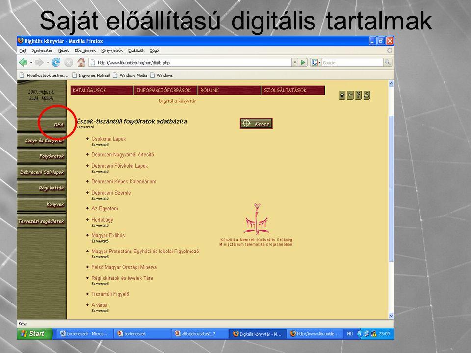 Saját előállítású digitális tartalmak