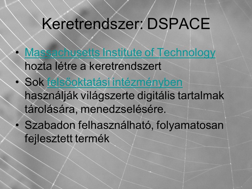 Keretrendszer: DSPACE Massachusetts Institute of Technology hozta létre a keretrendszertMassachusetts Institute of Technology Sok felsőoktatási intézményben használják világszerte digitális tartalmak tárolására, menedzselésére.felsőoktatási intézményben Szabadon felhasználható, folyamatosan fejlesztett termék