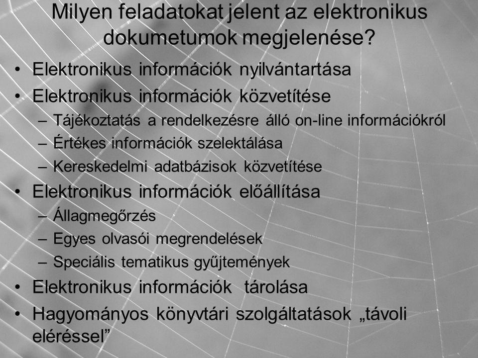 Milyen feladatokat jelent az elektronikus dokumetumok megjelenése? Elektronikus információk nyilvántartása Elektronikus információk közvetítése –Tájék