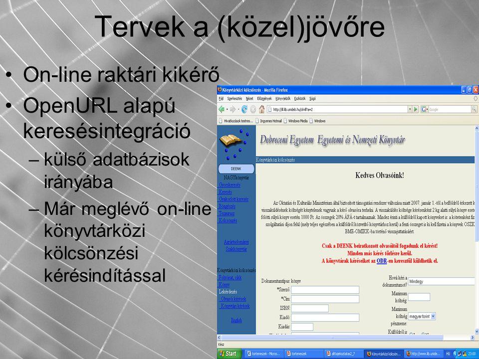 Tervek a (közel)jövőre On-line raktári kikérő OpenURL alapú keresésintegráció –külső adatbázisok irányába –Már meglévő on-line könyvtárközi kölcsönzés