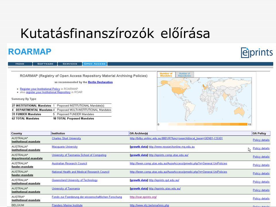 2009. június 24.Multimédia az oktatásban 200917 Kutatásfinanszírozók előírása