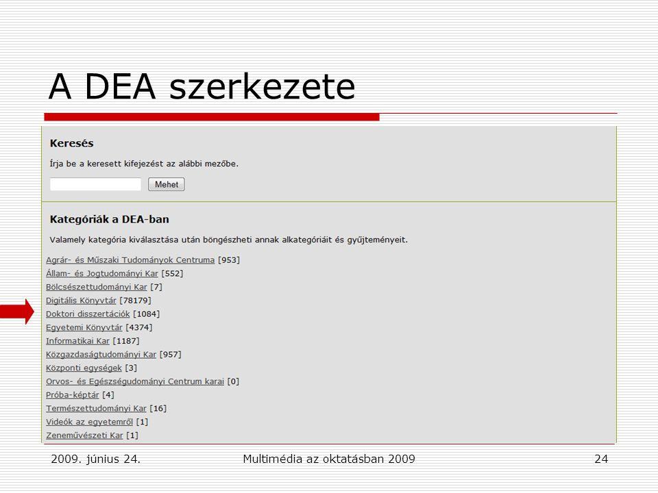 2009. június 24.Multimédia az oktatásban 200924 A DEA szerkezete