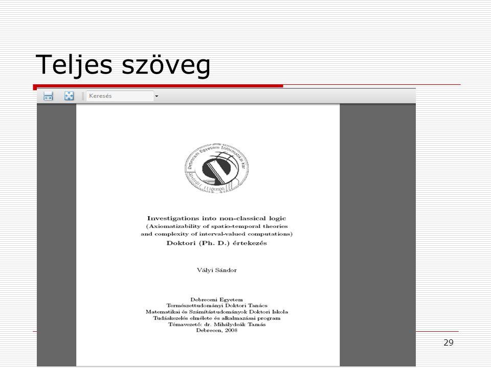 2009. június 24.Multimédia az oktatásban 200929 Teljes szöveg