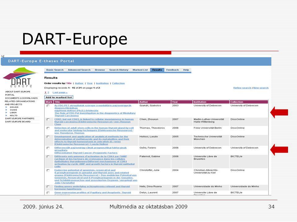 2009. június 24.Multimédia az oktatásban 200934 DART-Europe