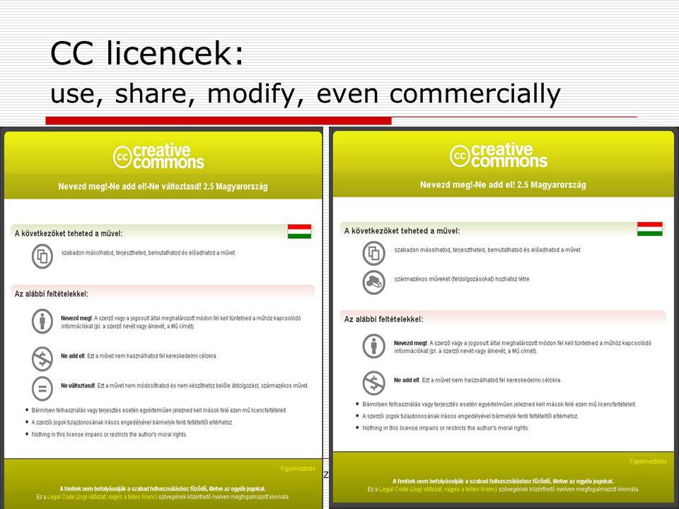 2009. június 24.Multimédia az oktatásban 20097 CC licencek: use, share, modify, even commercially