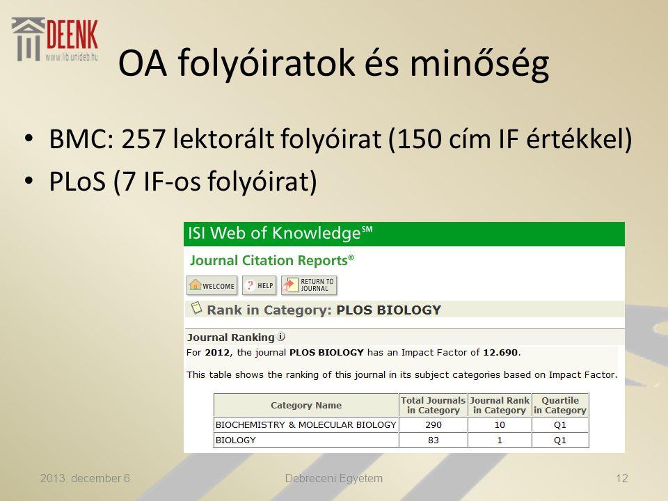 OA folyóiratok és minőség BMC: 257 lektorált folyóirat (150 cím IF értékkel) PLoS (7 IF-os folyóirat) 2013.