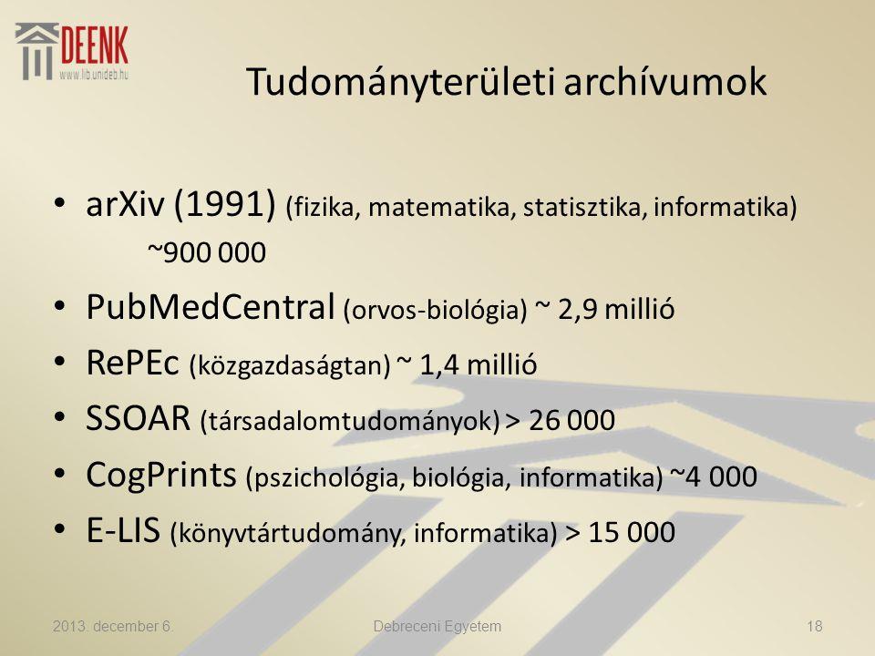 Tudományterületi archívumok arXiv (1991) (fizika, matematika, statisztika, informatika) ~900 000 PubMedCentral (orvos-biológia) ~ 2,9 millió RePEc (közgazdaságtan) ~ 1,4 millió SSOAR (társadalomtudományok) > 26 000 CogPrints (pszichológia, biológia, informatika) ~4 000 E-LIS (könyvtártudomány, informatika) > 15 000 2013.