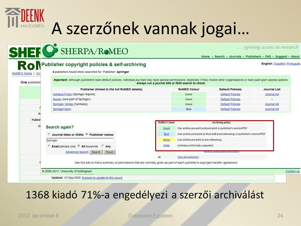A szerzőnek vannak jogai… 1368 kiadó 71%-a engedélyezi a szerzői archiválást 2013.