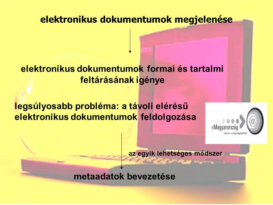 elektronikus dokumentumok megjelenése elektronikus dokumentumok formai és tartalmi feltárásának igénye legsúlyosabb probléma: a távoli elérésű elektro