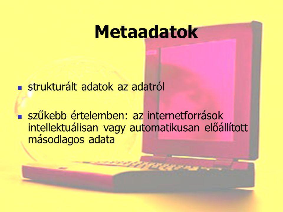 Metaadatok strukturált adatok az adatról szűkebb értelemben: az internetforrások intellektuálisan vagy automatikusan előállított másodlagos adata