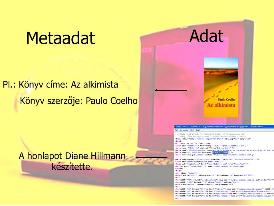 Metaadatok néhány fajtája: Vannak leíró metaadatok A dokumentum belső struktúráját leíró metaadatok Megőrzést segítő metaadatok A dokumentumhoz kapcsolódó jogokat, jogosultságokat rögzítő metaadatok