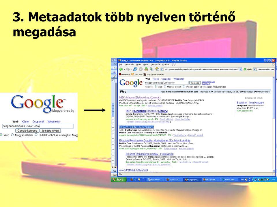 3. Metaadatok több nyelven történő megadása