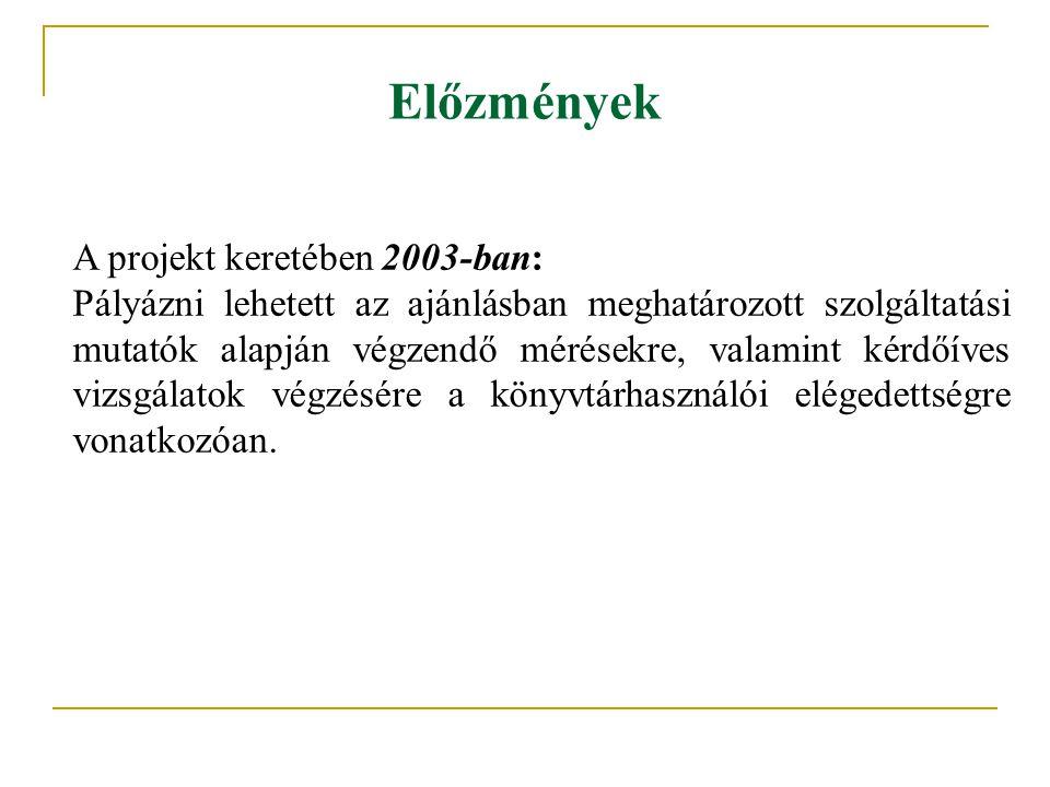 Előzmények A projekt keretében 2003-ban: Pályázni lehetett az ajánlásban meghatározott szolgáltatási mutatók alapján végzendő mérésekre, valamint kérd