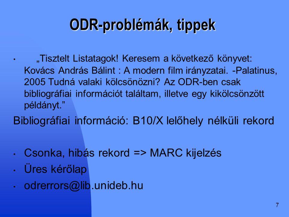 """7 ODR-problémák, tippek """"Tisztelt Listatagok."""