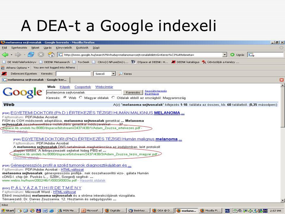 2007. július 13. Szeged MKE 39. Vándorgyűlés31 A DEA-t a Google indexeli