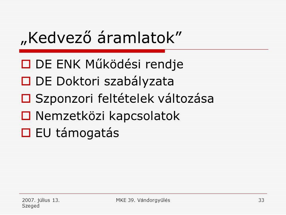 2007. július 13. Szeged MKE 39. Vándorgyűlés34 Szponzori feltételek nyilvántartása