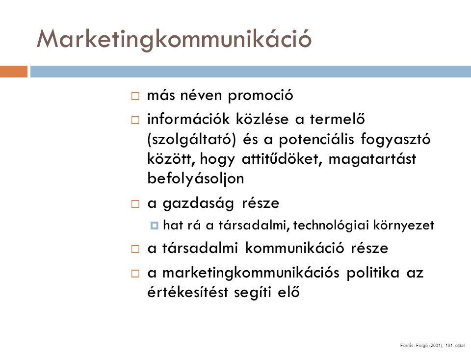 Marketingkommunikáció  más néven promoció  információk közlése a termelő (szolgáltató) és a potenciális fogyasztó között, hogy attitűdöket, magatart