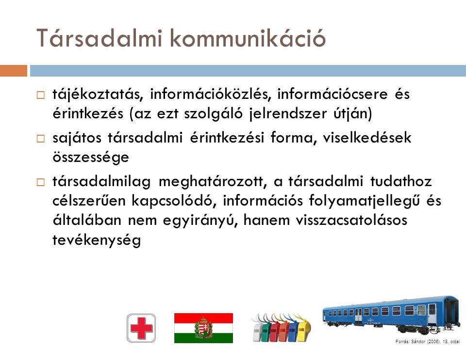 Társadalmi kommunikáció  tájékoztatás, információközlés, információcsere és érintkezés (az ezt szolgáló jelrendszer útján)  sajátos társadalmi érint