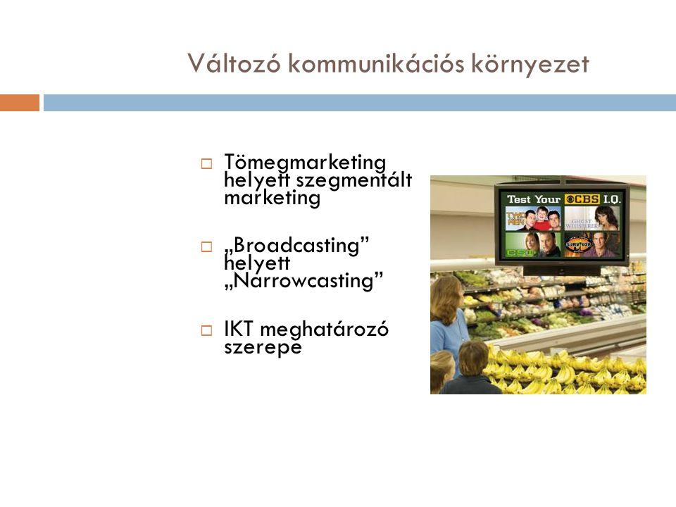"""Változó kommunikációs környezet  Tömegmarketing helyett szegmentált marketing  """"Broadcasting"""" helyett """"Narrowcasting""""  IKT meghatározó szerepe"""