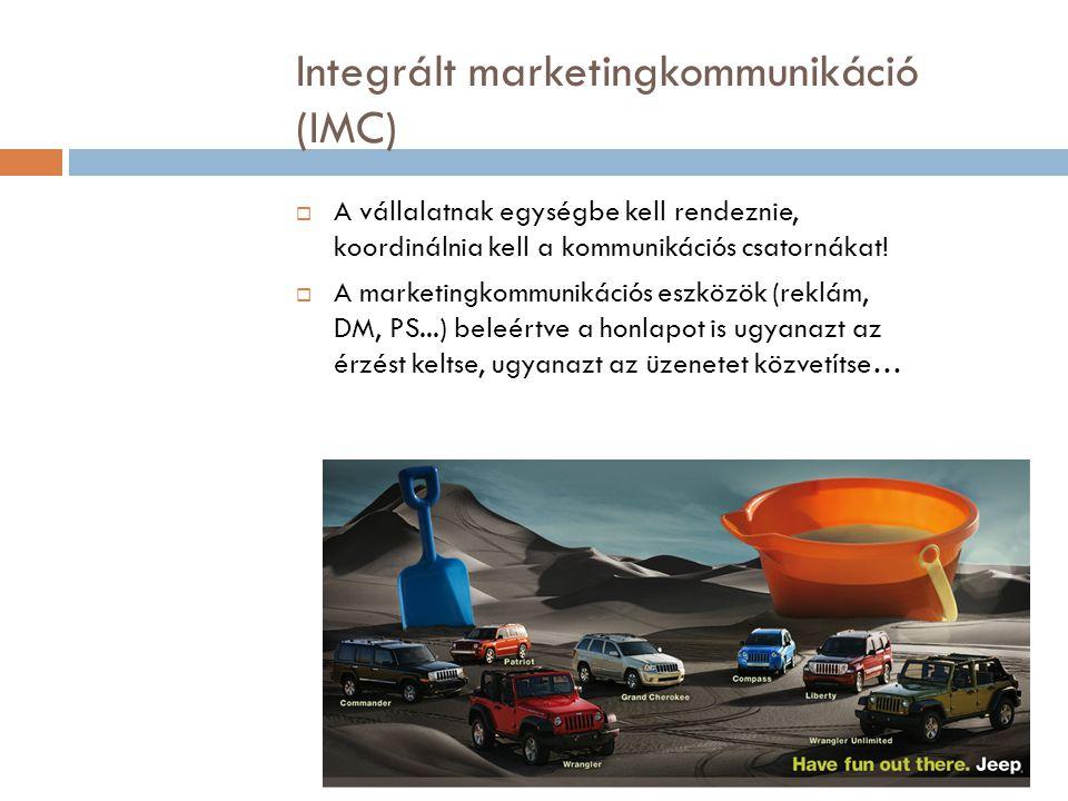 Integrált marketingkommunikáció (IMC)  A vállalatnak egységbe kell rendeznie, koordinálnia kell a kommunikációs csatornákat!  A marketingkommunikáci