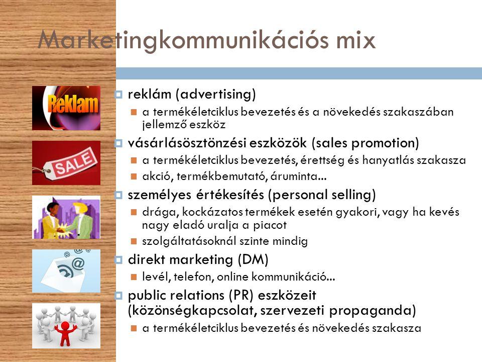 Marketingkommunikációs mix  reklám (advertising) a termékéletciklus bevezetés és a növekedés szakaszában jellemző eszköz  vásárlásösztönzési eszközö