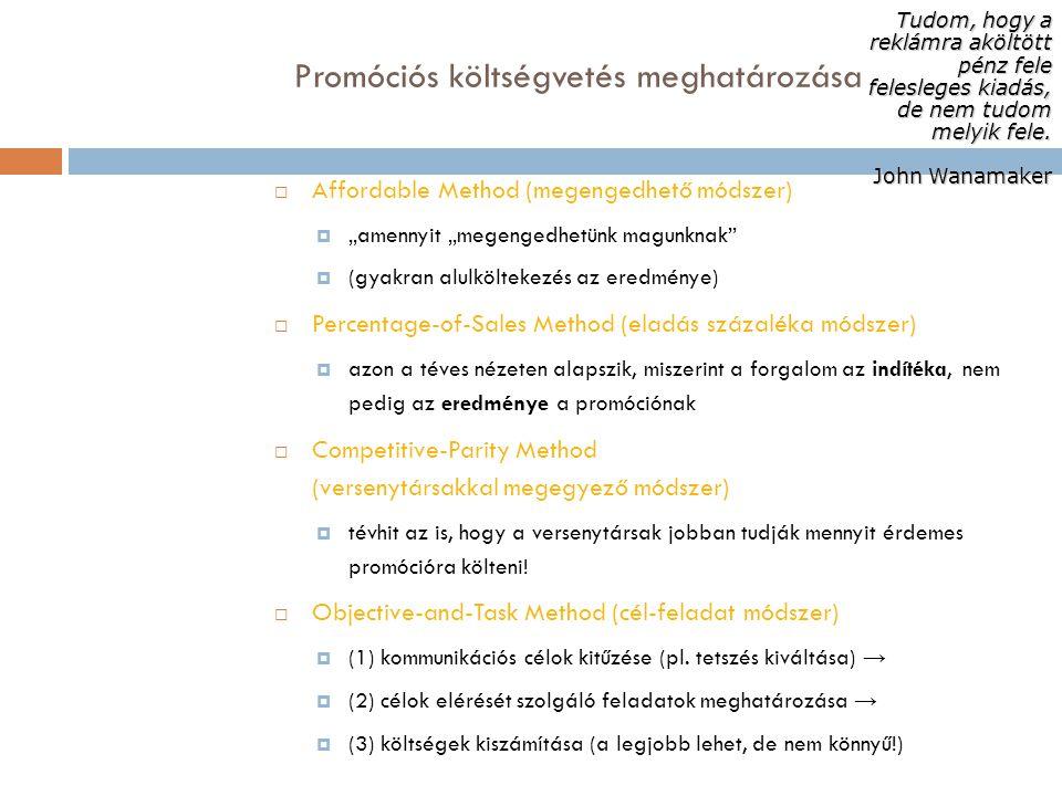 """Promóciós költségvetés meghatározása  Affordable Method (megengedhető módszer)  """"amennyit """"megengedhetünk magunknak""""  (gyakran alulköltekezés az er"""