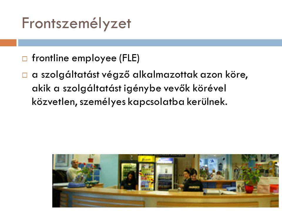 Frontszemélyzet  frontline employee (FLE)  a szolgáltatást végző alkalmazottak azon köre, akik a szolgáltatást igénybe vevők körével közvetlen, szem