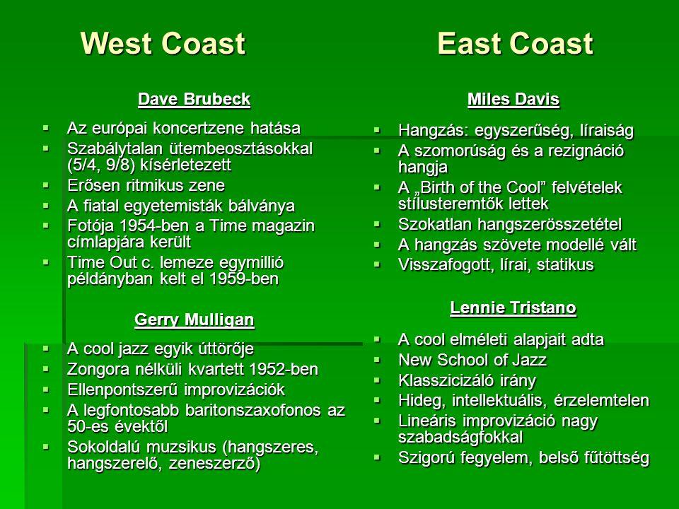 West Coast East Coast West Coast East Coast Dave Brubeck  Az európai koncertzene hatása  Szabálytalan ütembeosztásokkal (5/4, 9/8) kísérletezett  E