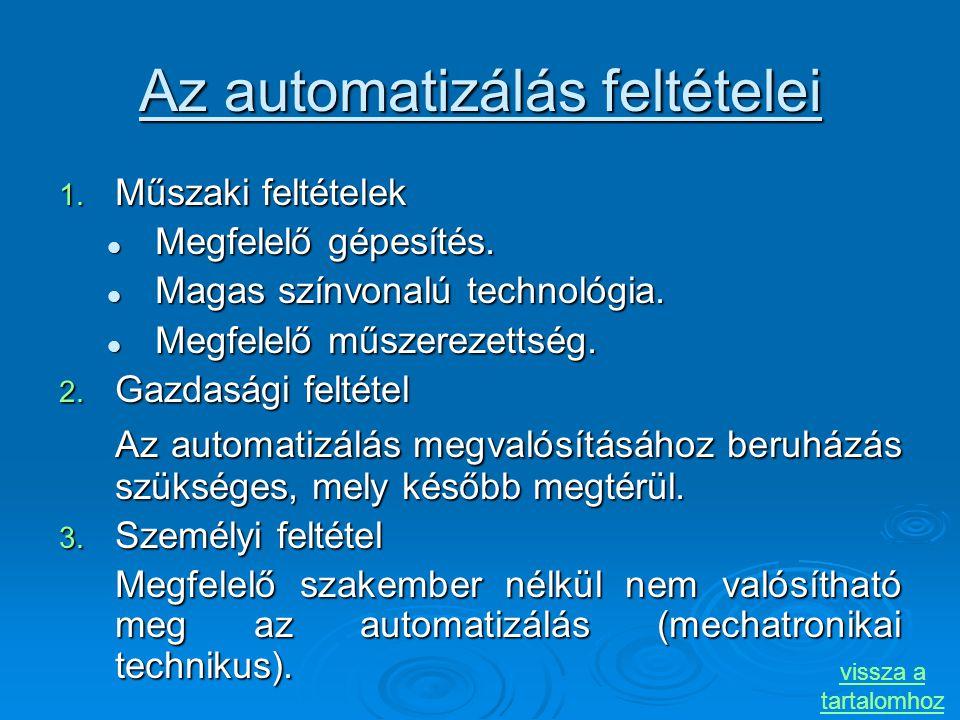 Az automatizálás feltételei 1. Műszaki feltételek Megfelelő gépesítés. Megfelelő gépesítés. Magas színvonalú technológia. Magas színvonalú technológia