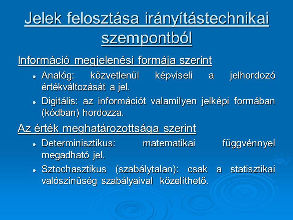 Jelek felosztása irányítástechnikai szempontból Információ megjelenési formája szerint Analóg: közvetlenül képviseli a jelhordozó értékváltozását a je