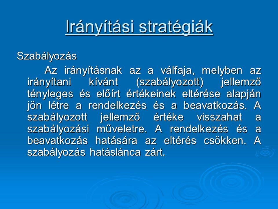Irányítási stratégiák Szabályozás Az irányításnak az a válfaja, melyben az irányítani kívánt (szabályozott) jellemző tényleges és előírt értékeinek el