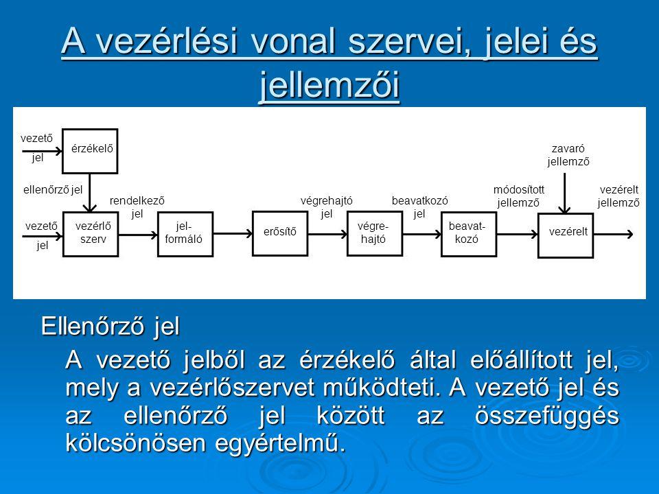A vezérlési vonal szervei, jelei és jellemzői Ellenőrző jel A vezető jelből az érzékelő által előállított jel, mely a vezérlőszervet működteti. A veze
