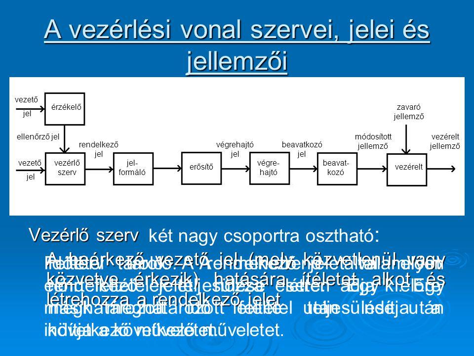 A vezérlési vonal szervei, jelei és jellemzői Vezérlő szerv A beérkező vezető jel (mely közvetlenül vagy közvetve érkezik) hatására ítéletet alkot és