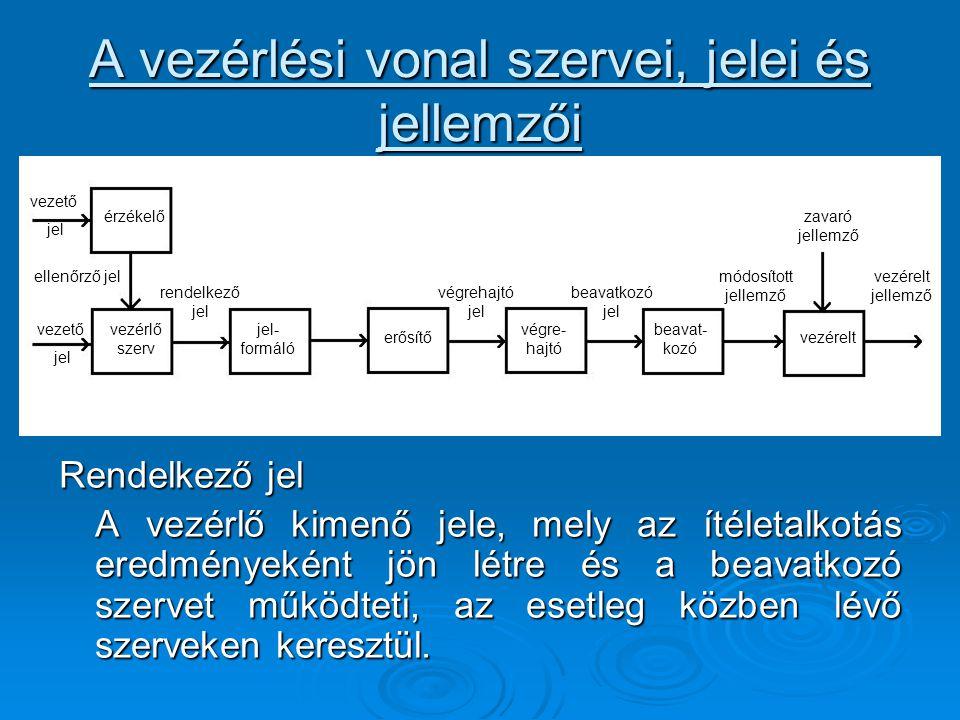 A vezérlési vonal szervei, jelei és jellemzői Rendelkező jel A vezérlő kimenő jele, mely az ítéletalkotás eredményeként jön létre és a beavatkozó szer