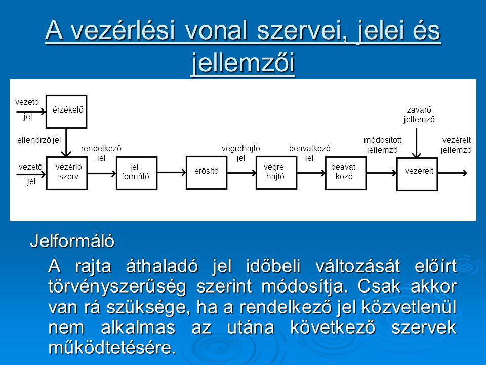 A vezérlési vonal szervei, jelei és jellemzői Jelformáló A rajta áthaladó jel időbeli változását előírt törvényszerűség szerint módosítja. Csak akkor