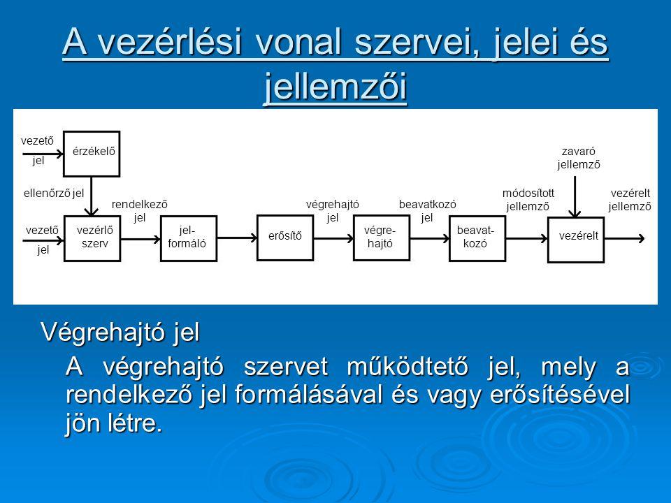 A vezérlési vonal szervei, jelei és jellemzői Végrehajtó jel A végrehajtó szervet működtető jel, mely a rendelkező jel formálásával és vagy erősítésév