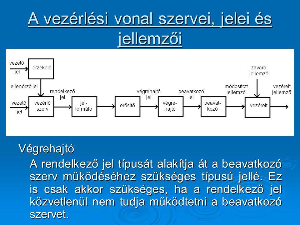 A vezérlési vonal szervei, jelei és jellemzői Végrehajtó A rendelkező jel típusát alakítja át a beavatkozó szerv működéséhez szükséges típusú jellé. E