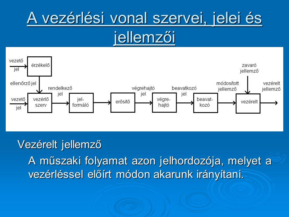 A vezérlési vonal szervei, jelei és jellemzői Vezérelt jellemző A műszaki folyamat azon jelhordozója, melyet a vezérléssel előírt módon akarunk irányí