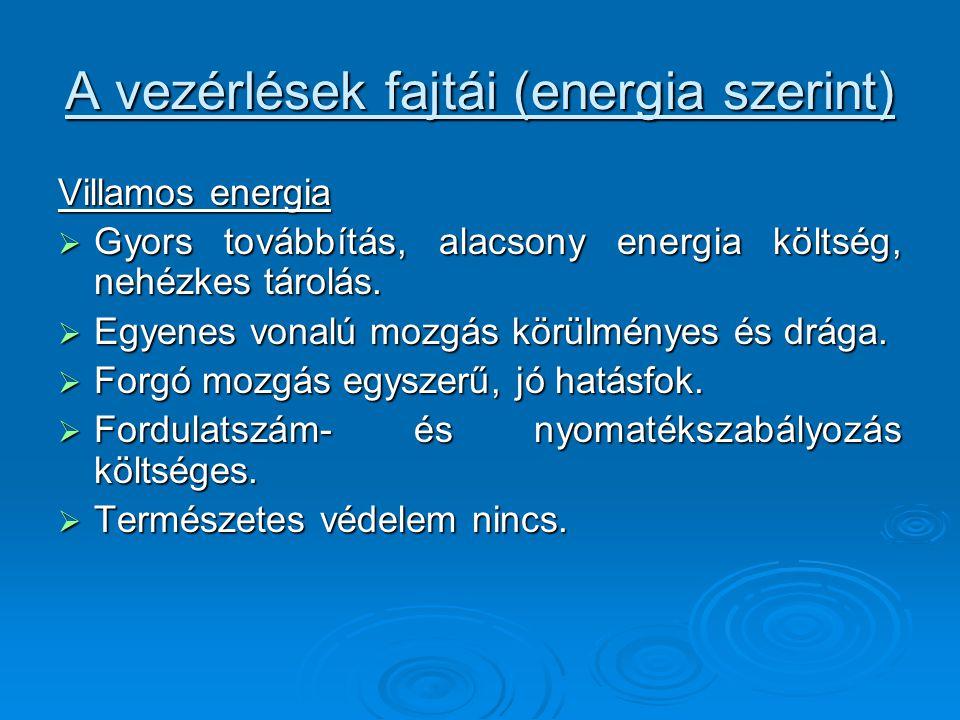 A vezérlések fajtái (energia szerint) Villamos energia  Gyors továbbítás, alacsony energia költség, nehézkes tárolás.  Egyenes vonalú mozgás körülmé