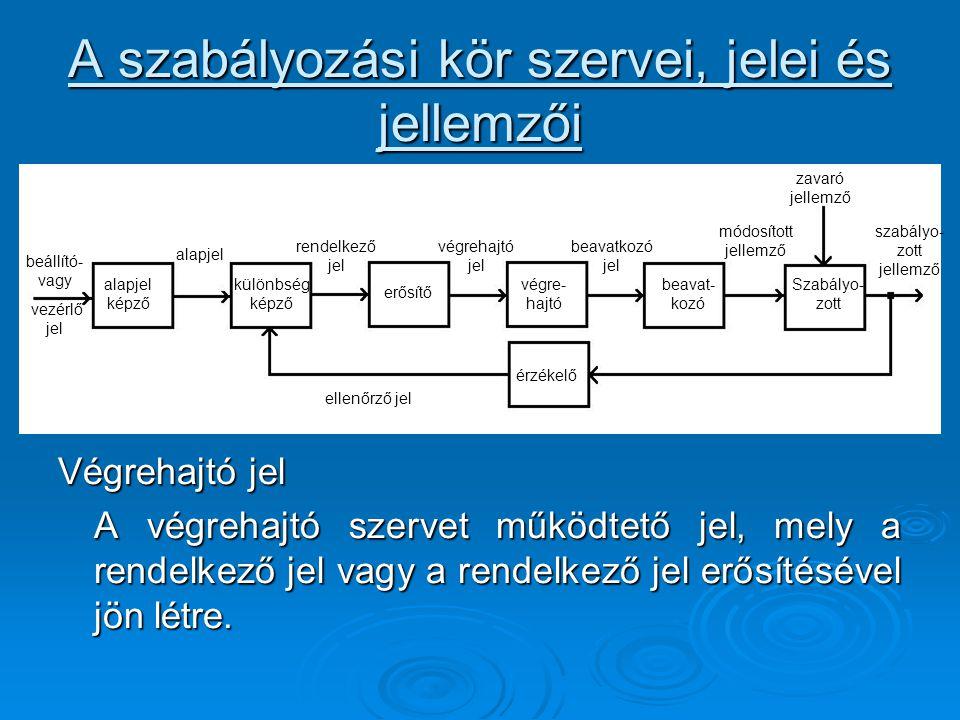 A szabályozási kör szervei, jelei és jellemzői Végrehajtó jel A végrehajtó szervet működtető jel, mely a rendelkező jel vagy a rendelkező jel erősítés