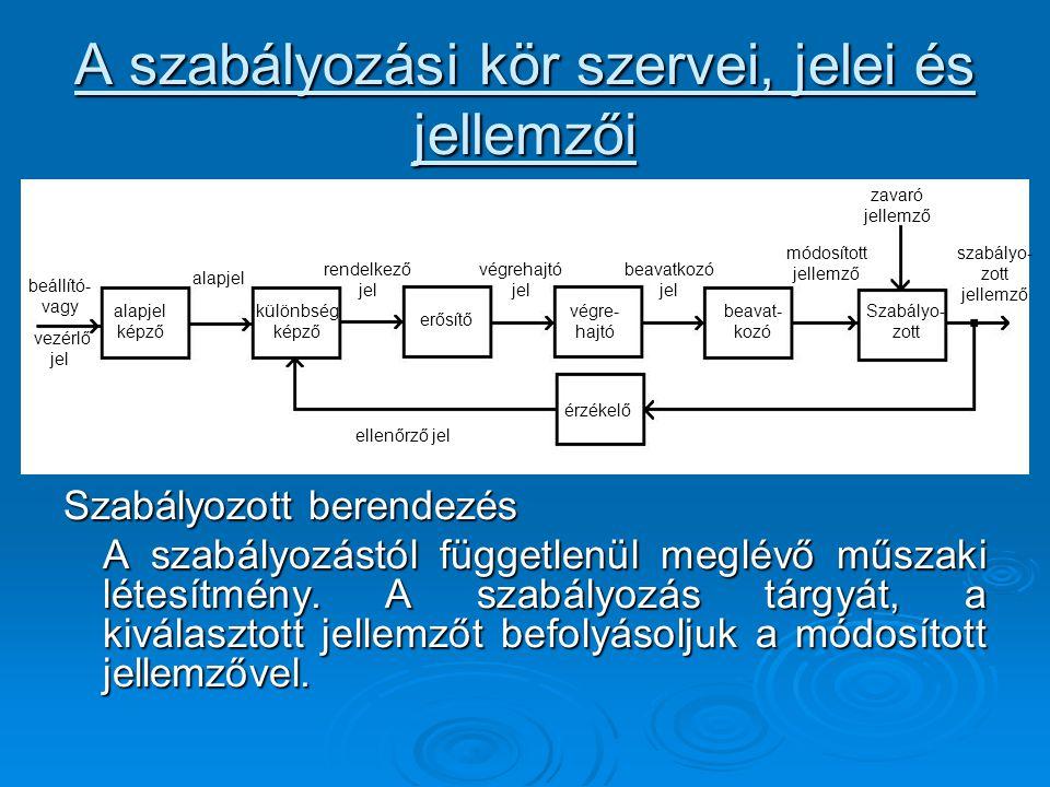 A szabályozási kör szervei, jelei és jellemzői Szabályozott berendezés A szabályozástól függetlenül meglévő műszaki létesítmény. A szabályozás tárgyát