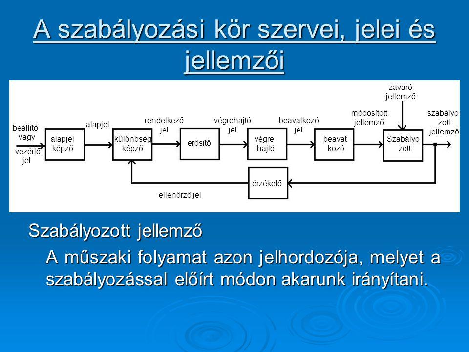 A szabályozási kör szervei, jelei és jellemzői Szabályozott jellemző A műszaki folyamat azon jelhordozója, melyet a szabályozással előírt módon akarun