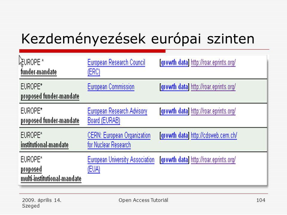 2009. április 14. Szeged Open Access Tutoriál104 Kezdeményezések európai szinten