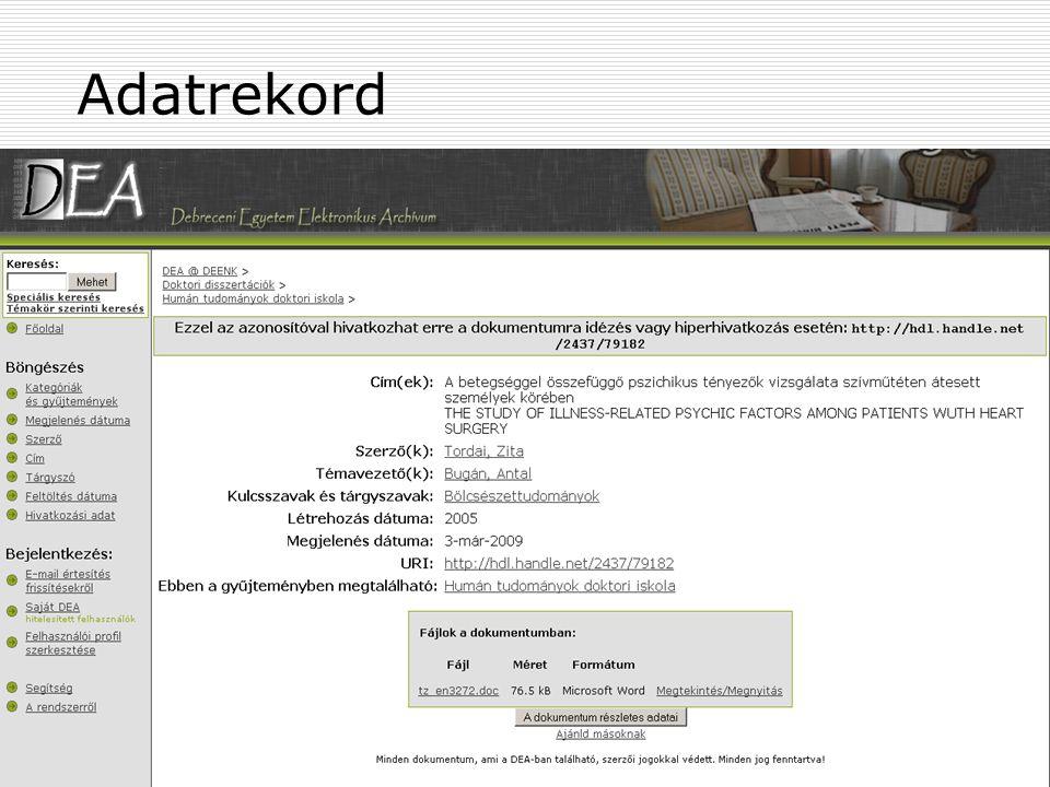 2009. április 14. Szeged Open Access Tutoriál113 Adatrekord
