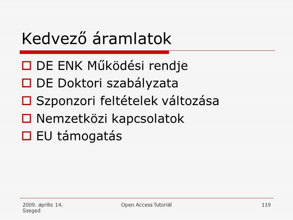 2009. április 14. Szeged Open Access Tutoriál119 Kedvező áramlatok  DE ENK Működési rendje  DE Doktori szabályzata  Szponzori feltételek változása