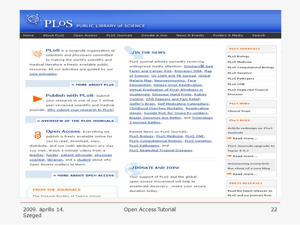 2009. április 14. Szeged Open Access Tutoriál22