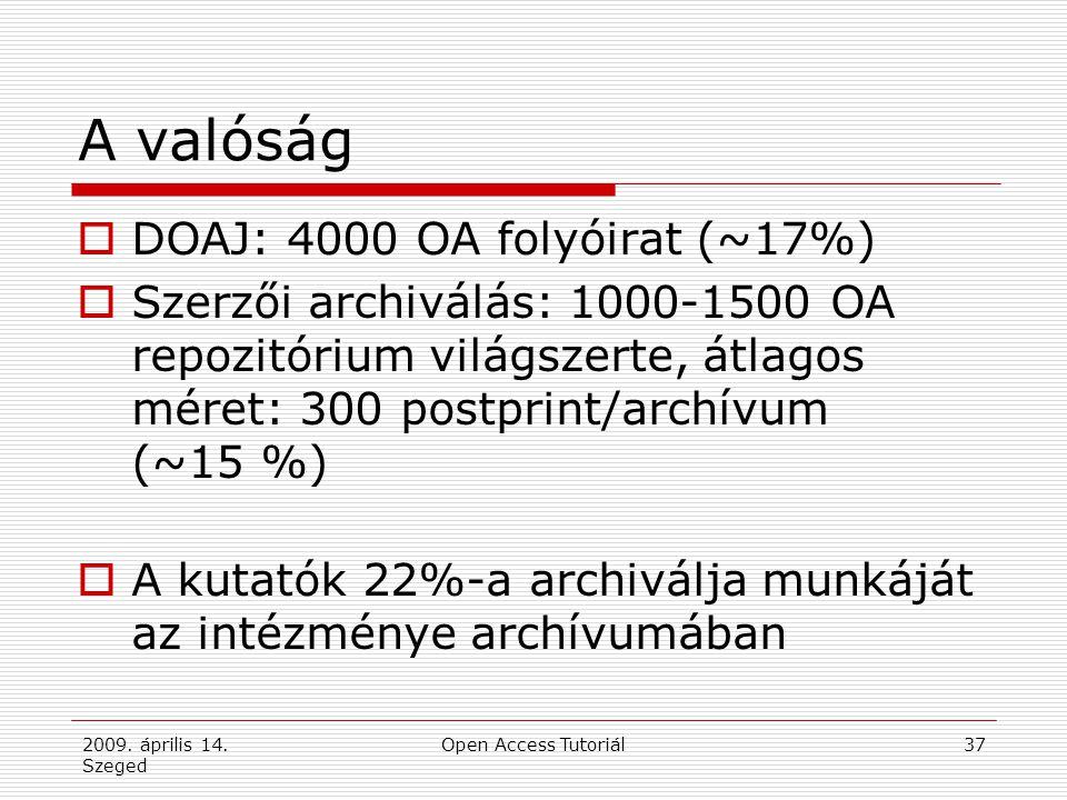 2009. április 14. Szeged Open Access Tutoriál37 A valóság  DOAJ: 4000 OA folyóirat (~17%)  Szerzői archiválás: 1000-1500 OA repozitórium világszerte